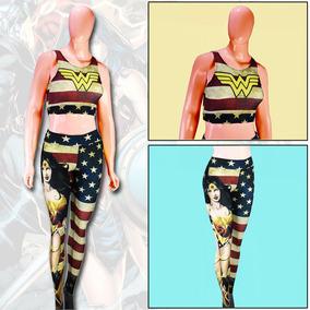 Calça Legging + Top Blusa Mulher Maravilha Wonder Woman