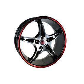 Llanta Sportiva Mm4 18x7.50 5x100 Negra C/labio Rojo 35
