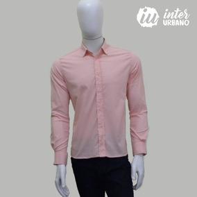 Camisa Social Masculina Lisa Slim Fit Com Elastano