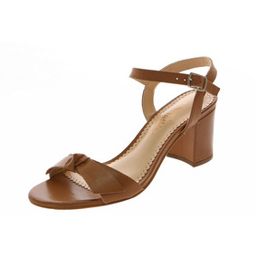 Sandália Salto Largo Caramelo