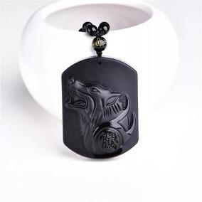 Collar Obsidiana Tallada Lobo De La Suerte Hombre Dama Navid