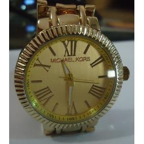 Relógio M K Mostrador Amarelo Pulseira Série Ouro