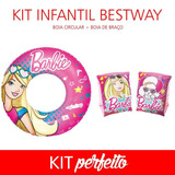 Kit Infantil Bestway Boia Braço + Boia Circular Barbie