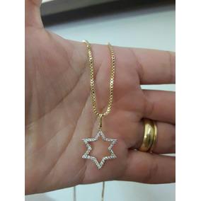 Colar Gargantilha 15 Microns Ouro 18k Estrela Com Zirconias