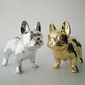Alcancia Ceramica Perro Bulldog Frances Metalizada Regalo