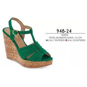 Sandalia/plataformas Dama Cklas 948-24 Verde Pv-19 11cm