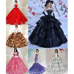 Vestido Super Luxo Para Boneca Barbie * Chapéu + Luvas