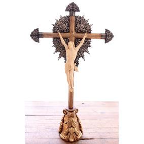 Antiguo Y Bello Cristo De Marfil En Cruz De Madera Y Plata