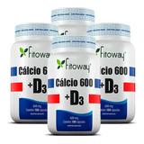 Cálcio 600 Com Vitamina D3 - Fitoway - 4x180 Cápsulas
