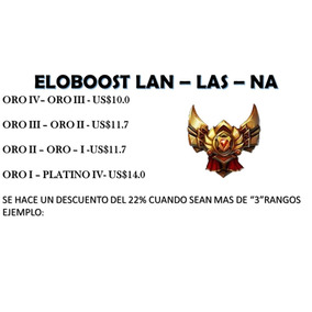 Elo Boost, League Of Legends Lan - Las - Na Oro