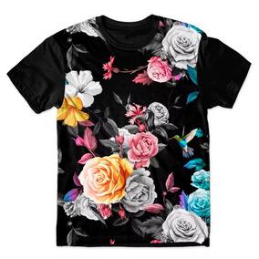 670f92afa Camisa Floral Estampa Colorida - Camisetas Manga Curta no Mercado ...