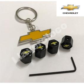 Tapas De Válvula Con Logo + Antirrobo Y Llavero Chevrolet