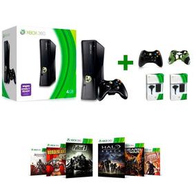 Xbox360 Slim Destravado+ 10 Jogos + 2 Baterias + 2 Controles