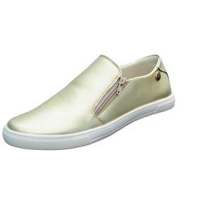 Tênis Feminino Slip On Quality Shoes Ziper Dourado