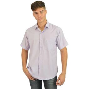 Camisa Social Masculina Manga Curta Lilás - Imperdível