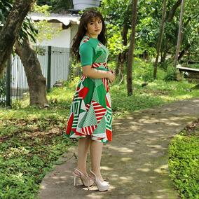 Vestidos Moda Evangélica Casual Evasê Geométrico Alana