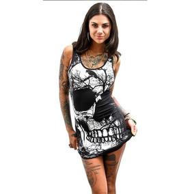82c3599e296 Vestido Calavera Cráneo Gótico Rocker Witch Alternativo