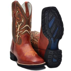 Bota Country Masculina Texana Bico Quadrado Couro Lsb Shoes