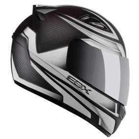 Capacete Moto Ebf E0x Frost Preto E Prata Fosco