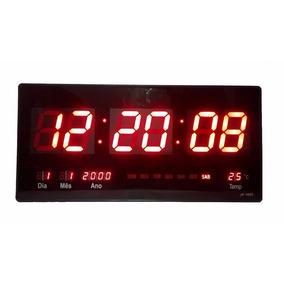 Relógio De Parede Led Digital Data Temp 46 Cm Azul, Verde G