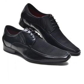 Sapato Social Masculino Solado De Couro Cor Preto Verniz