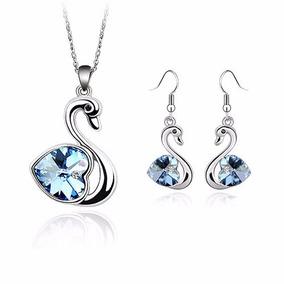 Collar Y Aretes Crystallized D Cisne Piedra Azul Certificado