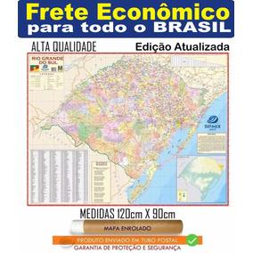 Mapa Rio Grande Do Sul 120 Cm X 90 Cm Enrolado Frete R$ 20,