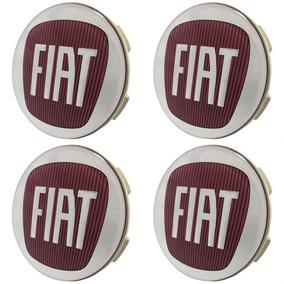 Jogo Calota Tampa Roda Esportiva Scorro Logo Fiat Vermelho