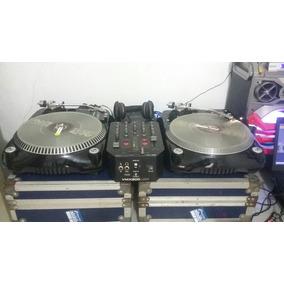 Par De Toca Discos Dj Tech + Mixer, Case, Interface E Midi
