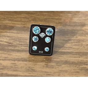 Promoção Conj. 3 Brinco Prata Maciça 950 Zirconia Azul