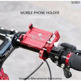 Suporte Celular Alumínio P/ Moto Bike Bicicleta Preto