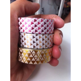 Washi Tape Mini Triângulos Metalizados Dourados Golden Foil
