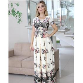 Vestido Longo Estampado Com Cinto Moda Evangélica