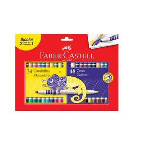 Canetinha 48 Cores Bicolor (2 Em 1) Faber-castell - 15.0624p