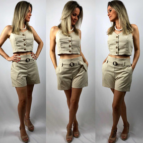 Conjunto Feminino Shorts E Cropped Linho Lindo