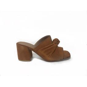 Sandalia Cuero Gamuzado Nudo Tan 47l124