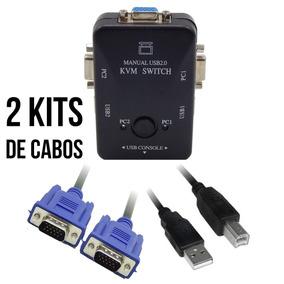 Kvm Chaveador Switch Usb 2 Saidas Vga Com Cabos Completos