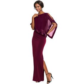 Elegante Vestido Largo Poncho Brillo Noche 610378 2