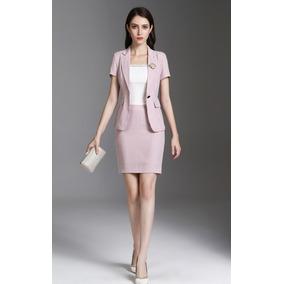 Traje Sastre Mujer Blazer + Falda Elegante Escote V Juvenil 33c5df530112