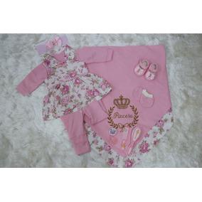 Kit Saída De Maternidade Para Bebê Menina Rosa Luxo +kit