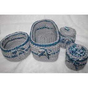 4 Cestos De Fio De Malhas Feitas Em Crochê Cinza/azul