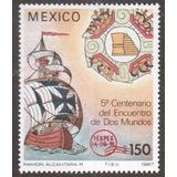Mexico 1991 Carabela Con Resello Rojo Texpex Nuevo 50 Dls.