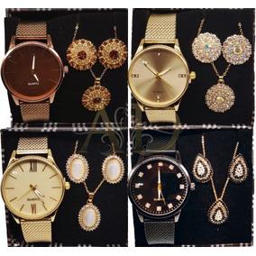 Kit Com 05 Relógios Feminino Atacado + Joias Grandes + Caixa