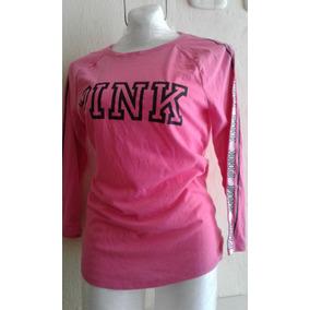 Camiseta De Manga Larga Pink Victoria´s Secret Original Dama