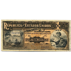 Cédula Antiga Rara 1000 Réis 1918 (apenas 100 Na Série)!