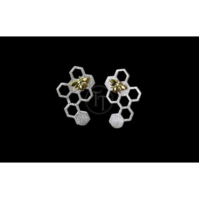 Aretes Panal Abeja Plata Esterlina 925 /18k Brushing Finish