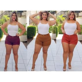 Kit 3 Shorts Jeans Plus Size Feminino C/ Lycra Colorido Jean