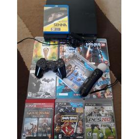Console Playstation 3 320gb - Com Ps Move 10 Jogos Originais
