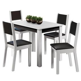 Mesa De Jantar Com 4 Cadeiras Madesa Rubia Fit