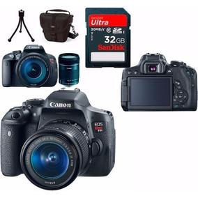 Câmera Canon Eos Rebel T6i C/18-55mm Stm+ 32gb+ Bolsa+ Tripé